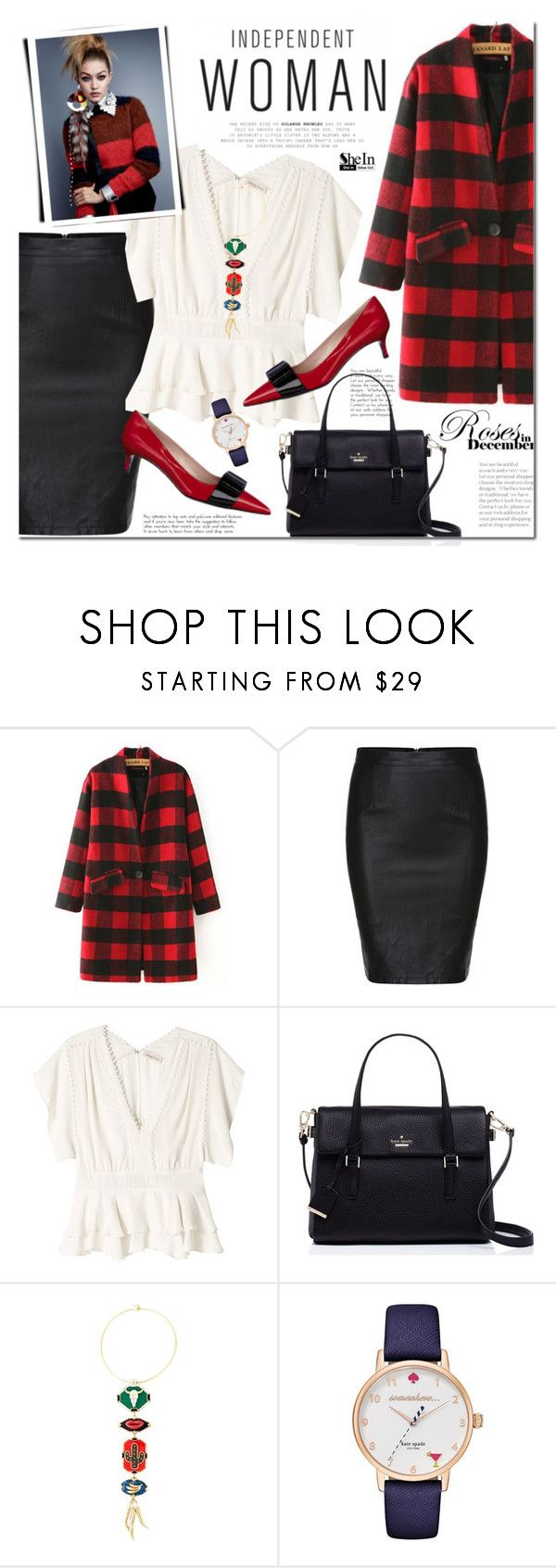 """""""Red winter"""" by mada-malureanu ❤ liked on Polyvore featuring Rebecca Taylor, Kate Spade, Miu Miu, Tory Burch, Sheinside and shein"""