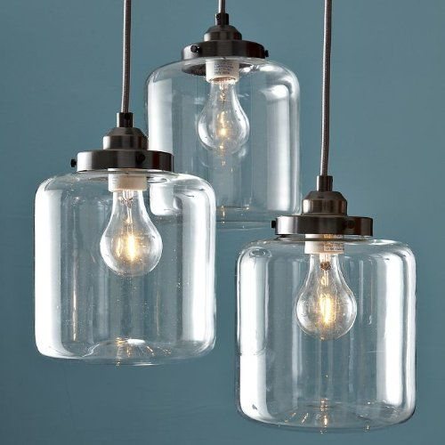 £165 Amazon Unitary Vintage Clear Glass Shade Mason Jar Pendant Light Max  180W With 3