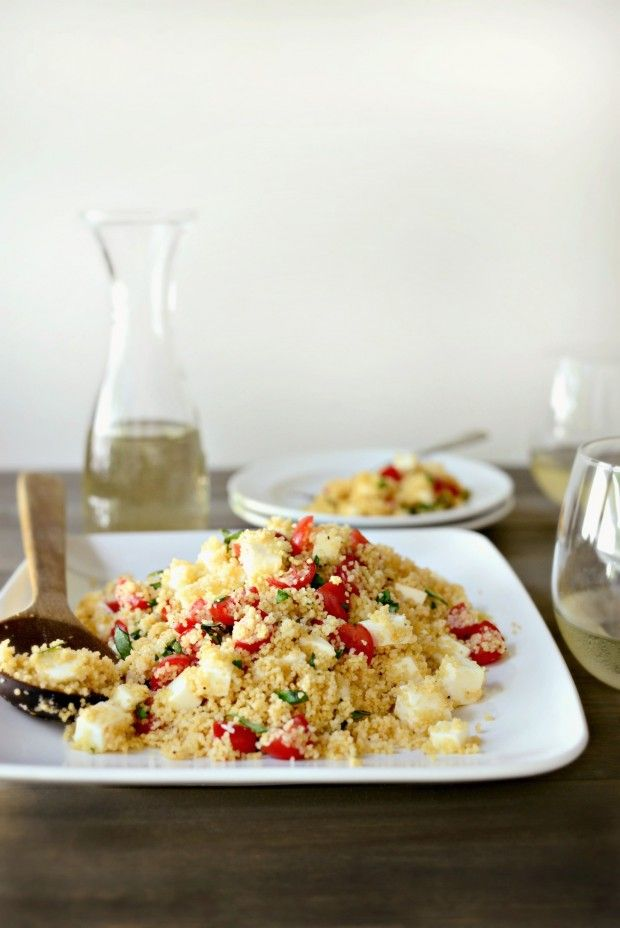 Tomato, Basil + Mozzarella Couscous l www.SimplyScratch.com