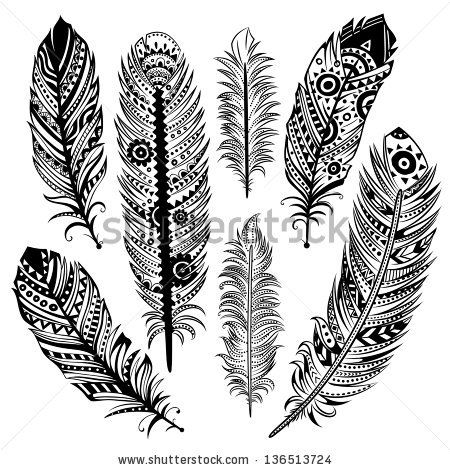 Vintage Tribal Feathers - stock vector