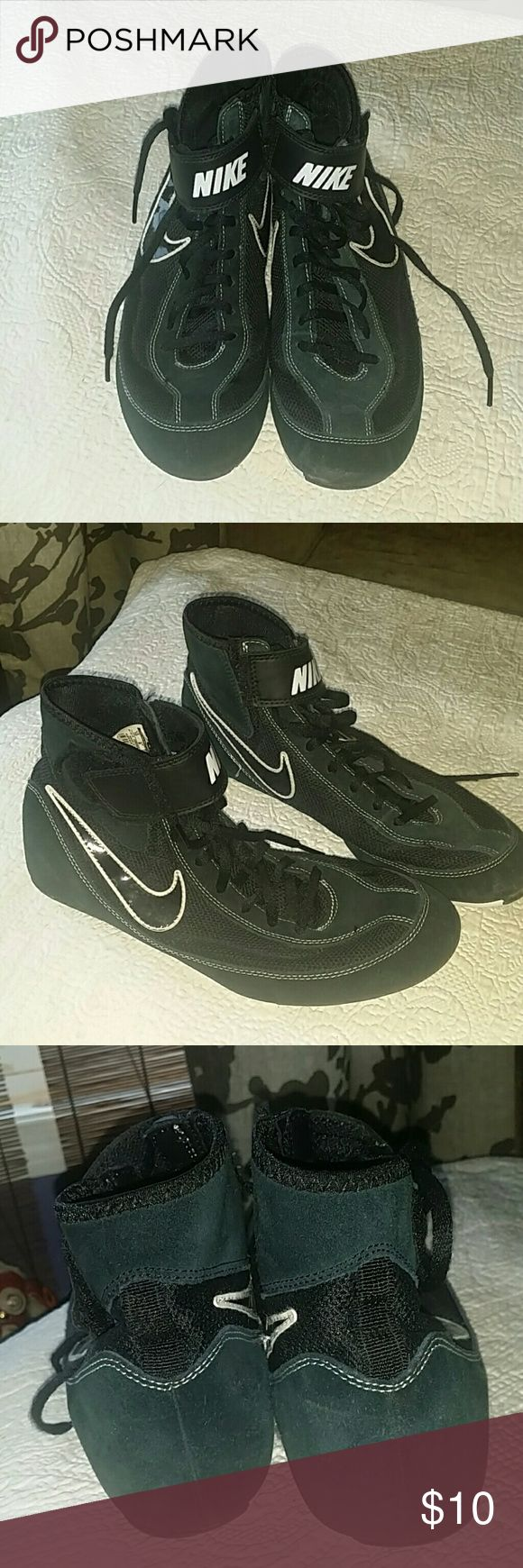 Nike Wrestling shoes Black w/white wrestling shoes. Worn, but I good condition. Nike Shoes Athletic Shoes