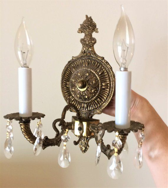 Double Arm Brass And Crystal French Style Wall Sconce Made In