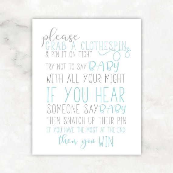 Baby Shower Games Digital Download Clothespin Game Baby Boy Shower  Printables 8x10 And 5x7 Baby Shower