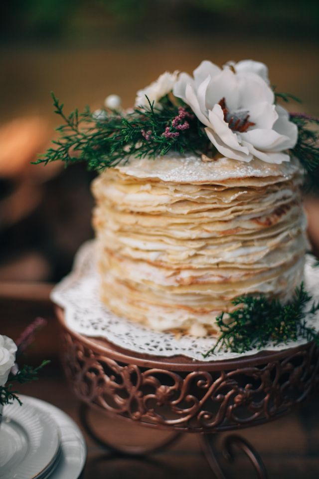 Crepe cake | My Dear Love | see more on: http://burnettsboards.com/2014/10/wooded-floral-wedding-inspiration/