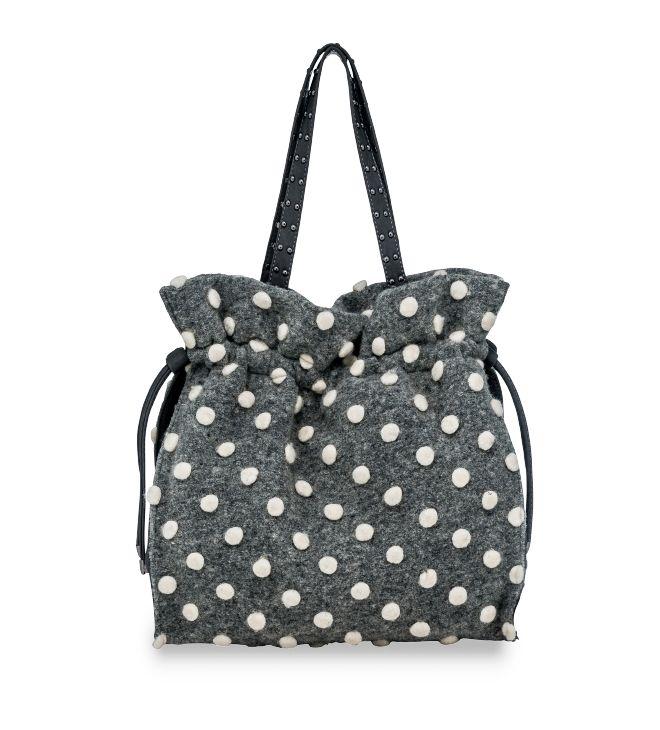 Secchiello con manici lunghi in tessuto feltro con dcorazione a pois. Originale e divertente, è una borsa che trasforma qualsiasi look! Disponibile in due dimensioni e nelle  varianti grigio e antracite.