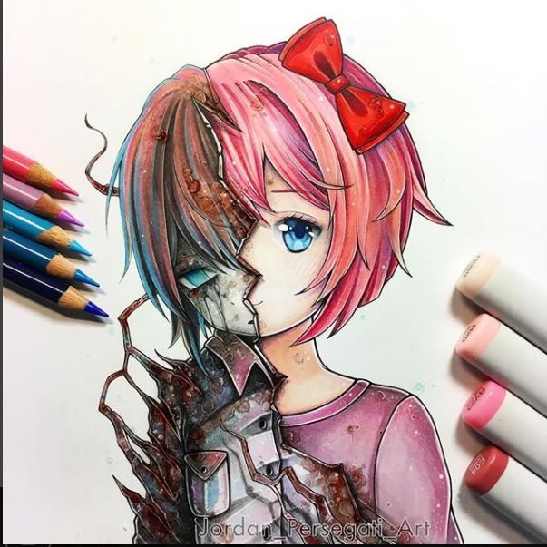 The Two Sides of Sayori > This is HAND DRAWN?! Omg it's amazing!!!