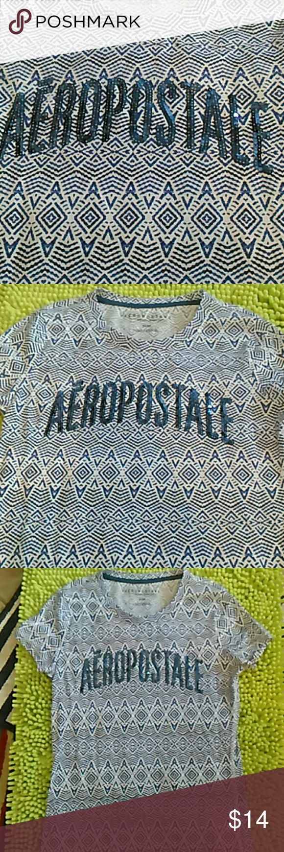NWOT Blue Sequined Aeropostale Tshirt /med Women's medium t-shirt. New without tags. Pretty Aztec like pattern t-shirt. Aero Tops Tees - Short Sleeve