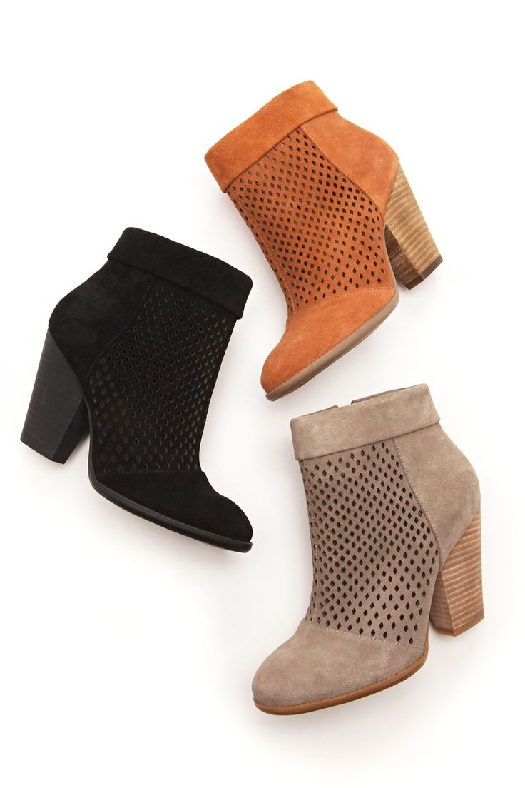 Suede ankle booties with perforated detail, rounded toe ...