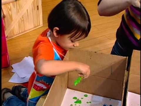 Rincón de Arte Infantil --  Pintura infantil con bolas de jabón