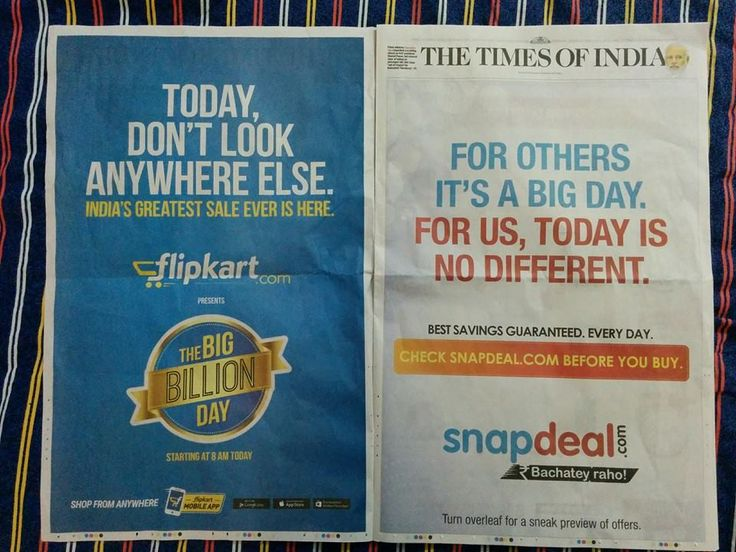 The Big Billion Day is finally over! For two weeks, everyone from Vir Das to our neighbour-aunty was shouting about the Big Billion Day. When Amazon's chief honcho Jeff Bezos visited Bangalore last week, Flipkart greeted him with 30 huge-ass 'Big Billion Day' hoardings on the Airport-to-City connector. Subtle. Then came the morning, and Snapdeal did this : #hugebrandattack #brandwar #witty