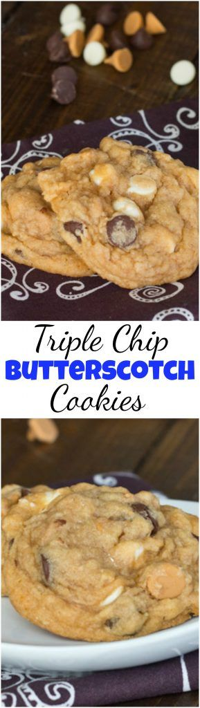 Butterscotch Pudding Triple Chip Cookies - Super soft and chewy butterscotch cookies with three kinds of chocolate!