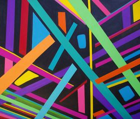 This painting is a geometric painting inspired by colour and space.