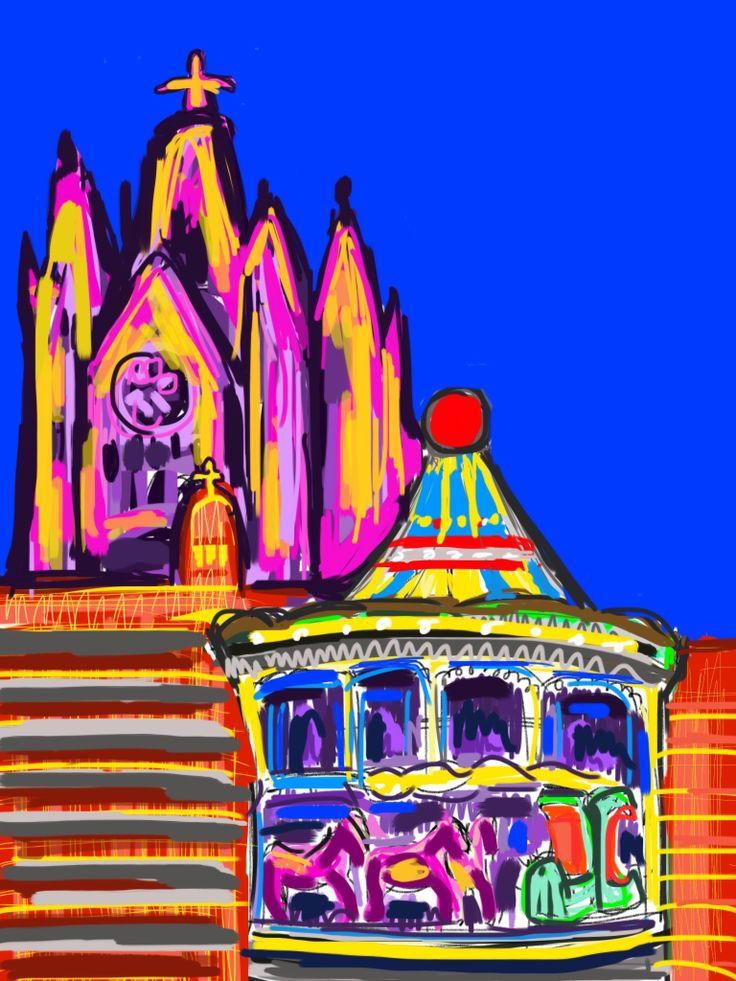 Ilustración Barcelona Tibidabo. www.ignasimiralbellriera.com