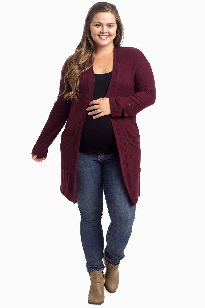 Burgundy Soft Knit Draped Pocket Plus Size Cardigan 11