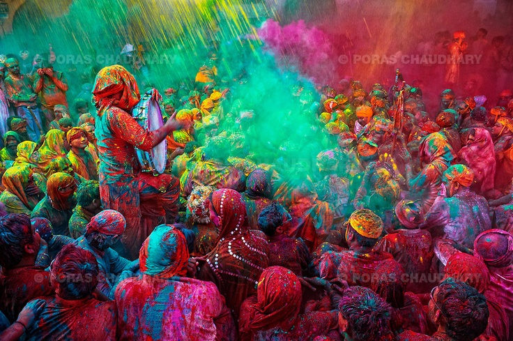 Holi Festival of colors--The festival of Holi is a religious festival. People sing bhajans of Radha and Lord Krishna on this day and it marks the beginning of Spring Season in india.    Here you can see a gathering of people singing folk songs during Holi (Festival of Colors), India...