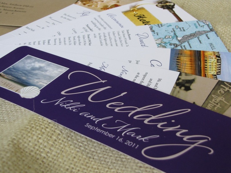 Swatchbook Wedding Invitation. Cape Cod destination wedding invitation. Purple wedding invitation that includes everything you'll need for your wedding, from the invitation to the reply card. $899 for 100 invitations www.ohsochicdesigns.com