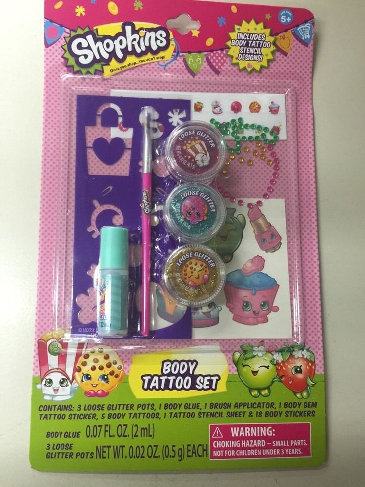 New Release Shopkins Body Tattoo Set Fast Shipping Ebay