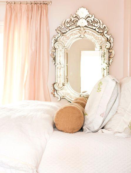 love the color of the curtains: Vintage Mirror, Mirror Mirror, Venetian Mirror, Princesses Rooms, Pale Pink, Mirrormirror, Pink Wall, Venetianmirror, Girls Rooms