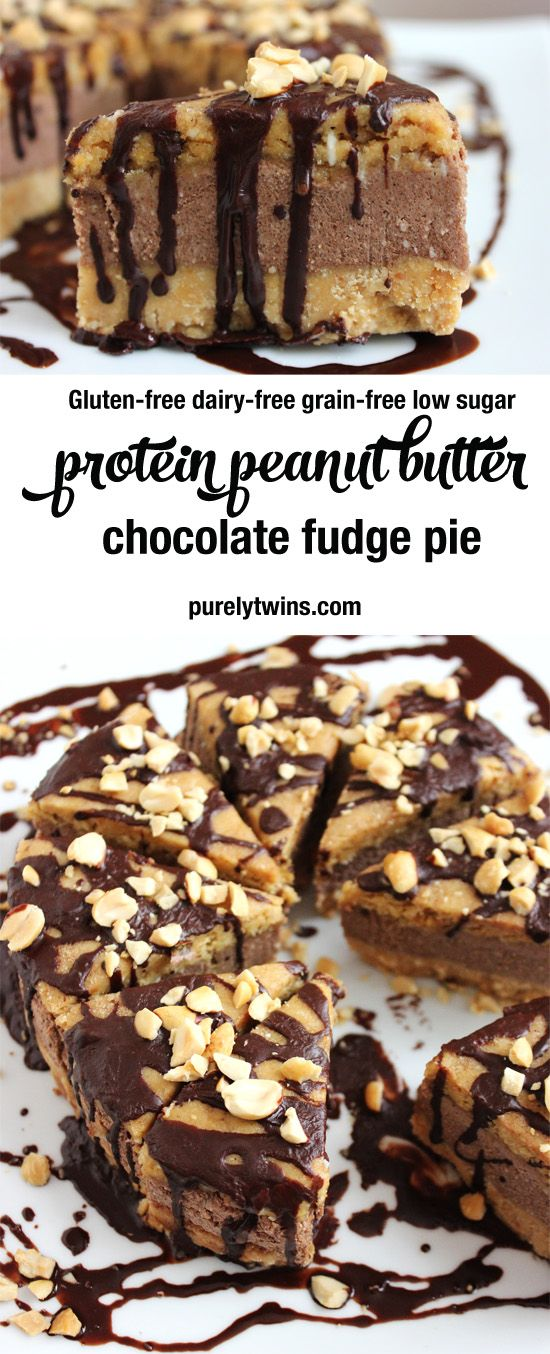 Protein peanut butter chocolate fudge pie. No bake recipe. So easy to make and made from real ingredients. A healthy way to enjoy reese's pieces pie. #glutenfree #grainfree #dairyfree #lowsugar | purelytwins.com