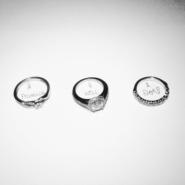 I promise, I will, I do. <3 Promise ring, engagement ring, wedding band. This is a brilliant and cute idea