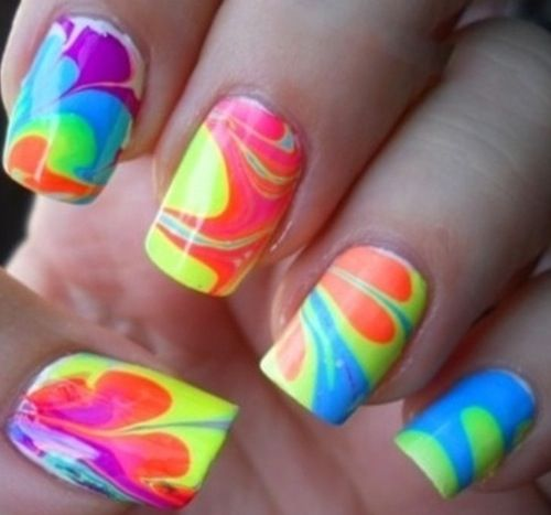 63 best neon water marble nails images on pinterest water marble water marble nail design prinsesfo Image collections
