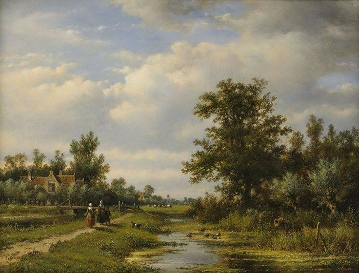 "https://www.facebook.com/MiaFeigelson ""A Dutch summer landscape"" By Lodewijk Johannes Kleijn, from Loosduinen, Netherlands (1817 - 1897) - oil on canvas; 49.5 x 64 cm - © Kunsthandel A.H. Bies, Eindhoven, Noord Brabant, Netherlands http://www.kunsthandelbies.nl/ https://www.facebook.com/pages/Kunsthandel-AH-Bies/150913294934368"