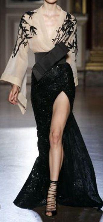 Zuhair Murad | black and white kimono-like gown with obi | high fashion