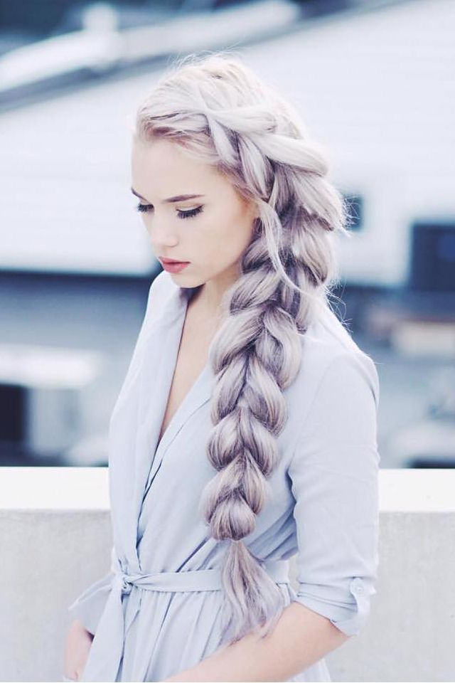 Thick Two Strand Braid on the lovely /kirstenzellers/, who is wearing her custom-colored Ash Blonde Luxy Hair Extensions to create this voluminous braid. #LuxyHairExtensions