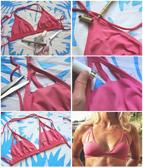 Recorta triángulos en un sostén triangular de bikini. | 25 Fantásticos trajes de baños para hacer tú misma que debes probar este verano
