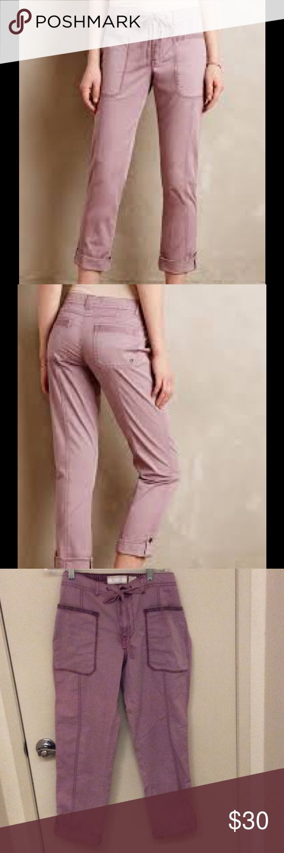 Hei hei fairweather rollups plum pants Hei hei fairweather rollups plum pants. Purchased at anthropologie. Comfy with large pockets and adjustable waist. from my mom's closet and never been worn. Anthropologie Pants Ankle & Cropped