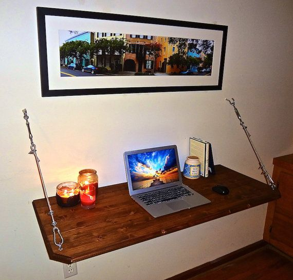 Floating Desk  Wall Mounted Desk by SawdustOnMySandals on Etsy, $175.95.   I love this instead of my huge desk now. I think I'm going to try it with nautical rope.