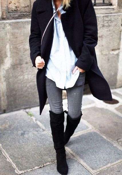 I tried to buy 'over the knee' boots but on me--they still just came up to my knee! So I own tall boots, just not this tall!  I LOVE a crisp white blouse and any kind of long jacket/sweater on top!  slightly swashbuckling cool-weather duds :)