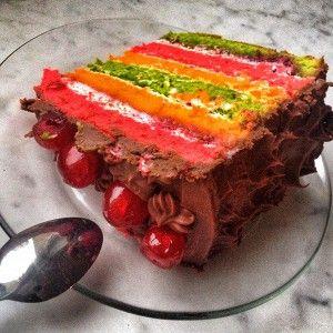 Радужный бисквитный торт