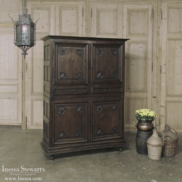 Antique Furniture | Antique Armoires | Country French Armoires | 19th Century Country French Four Door Armoire-Quatrefollet | www.inessa.com