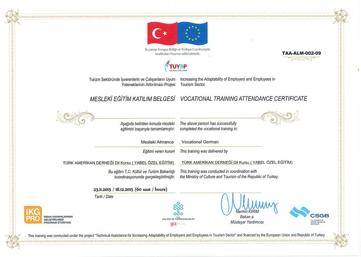 Learning never ends and continues the whole life on. We provide and encourage our staff to join 'Technical Assistance for Increasing Adaptability of Employees in Tourism Sector' and getting this certificate.