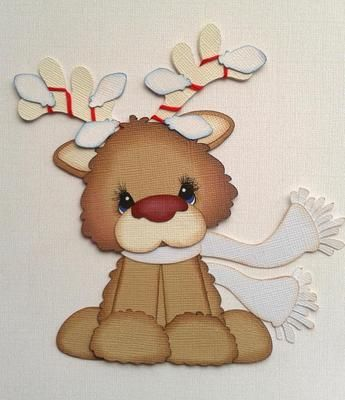 Tocg Rudolph Red Nose Reindeer White Bobble Buddy Paper Piecing My Tear Bears | eBay