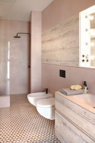 chic, décoration, délicatesse, douceur, élégance, raffinement, rose poudré, salle de bain