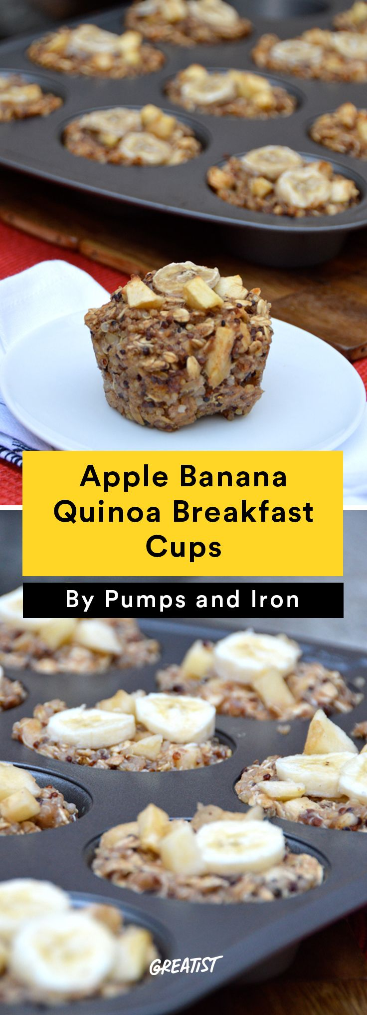 8. Apple Banana Quinoa Breakfast Cups #healthy #breakfast #recipes http://greatist.com/eat/healthy-breakfast-cup-recipes-to-fuel-your-mornings