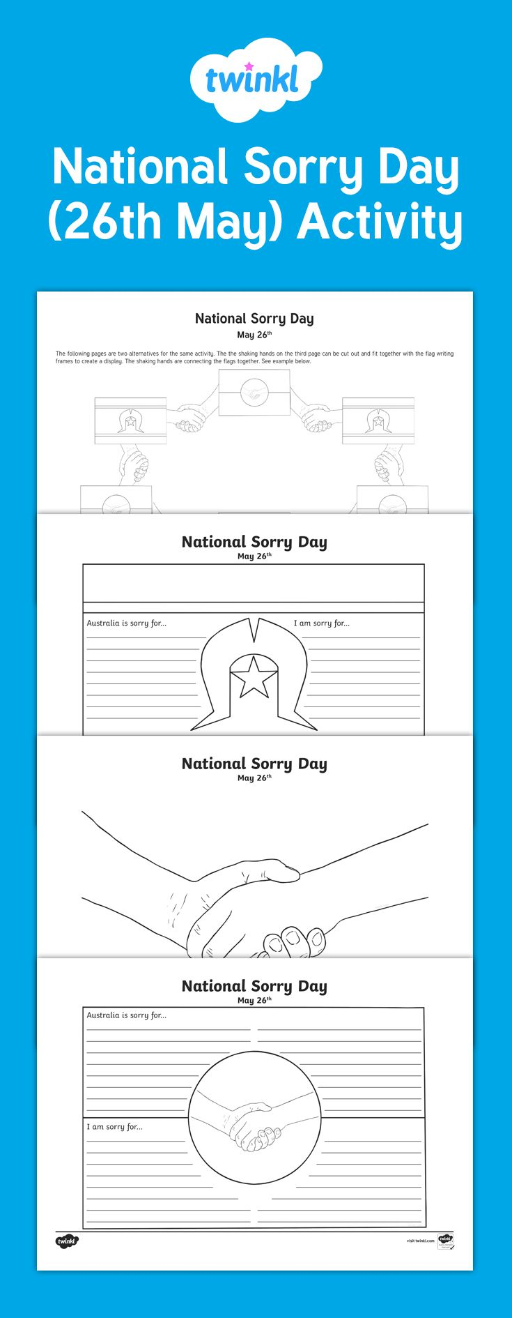 Use this National Sorry Day Writing Activity sheets as a writing prompt for students to write about 'Australia is sorry for...' and ' I am sorry for...' Each prompt is in an Aboriginal flag or Torres Strait Island design. Use these as a National Sorry Day display by connecting the flags with the 'hands holding' colouring template.