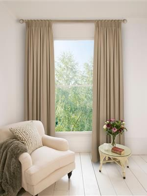 Ready Made Pencil Pleat Curtains In Doe. 100% Cotton. Ready Made Curtains | Uk Made - Natural Curtain Company