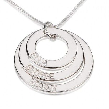 Personalize this simple yet chic sterling silver ringed necklace with the names of loved ones or words that inspire. Select from 2 to five rings.