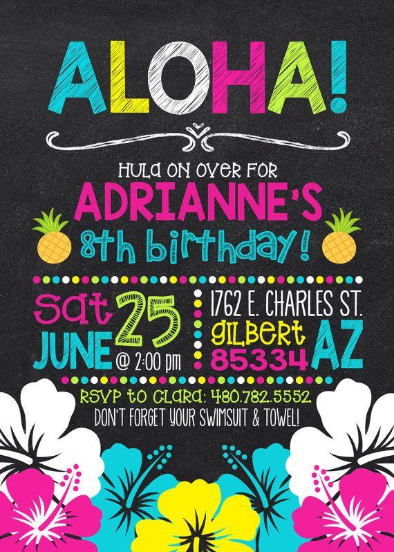 Luau Birthday Invitation Hawaiian Birthday Luau by CLaceyDesign
