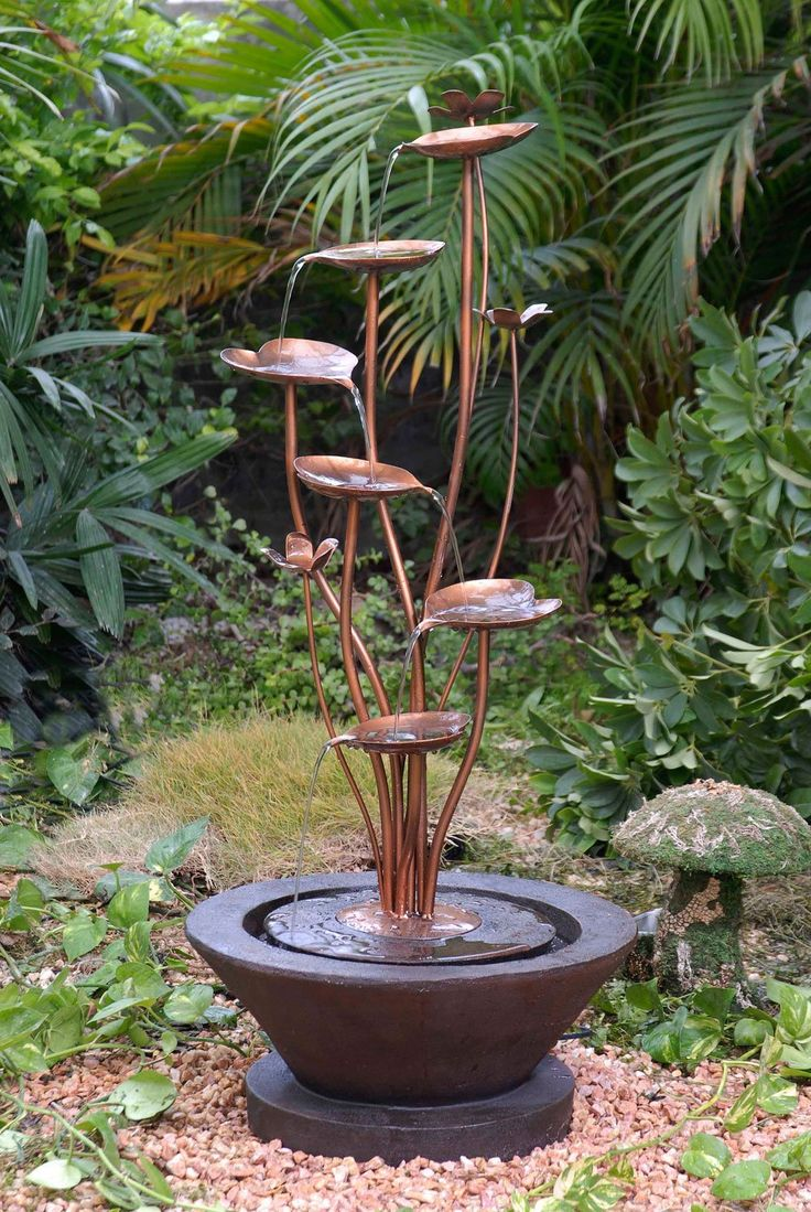 Best 25 patio fountain ideas only on pinterest garden water this acqua di loto lotus outdoor fountain transforms a favorite garden spot into an artful retreat with this unique stylish lotus metal water fountain dhlflorist Images