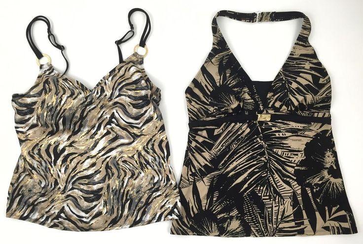 Tropical Escape Sz 8 New Swimsuit Lot Tankini Tops Metallic Gold Swirl    eBay