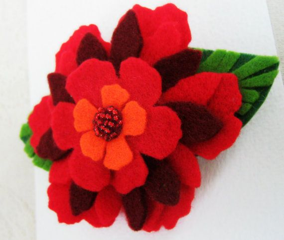 Christmas Felt Flower Girl Hair Barrette. by ForeverHeartFelt