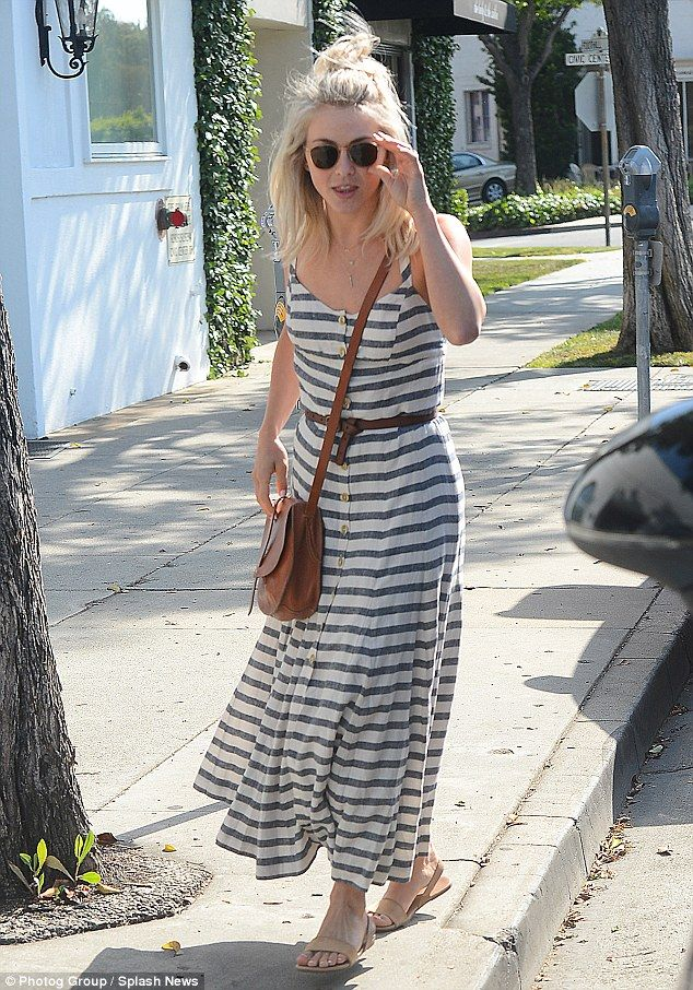 Ready for summer: Julianne Hough looked laid-back in a spaghetti strap, button down sundre...