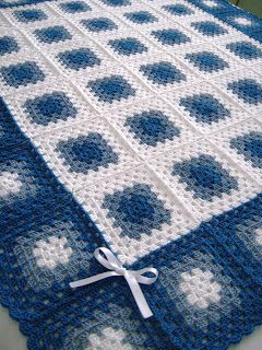 crochet granny square blanket:Reverse color on border granny squares. Could alternate all three colors here from center out for pleasing pattern.