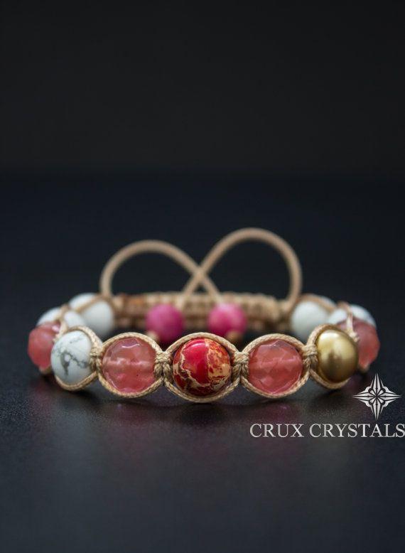 Women's Shamballa Bracelet Cherry Blossom Natural by CruxCrystals