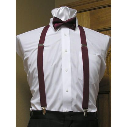 "Tuxedo Park Burgundy Matching Bow Tie and Suspender set 1"" Men's X Back Clip"
