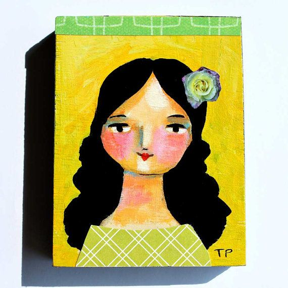 ORIGINAL Mini PORTRAIT Painting GREEN Chakra Girl Acrylic On Wood Art By Tascha